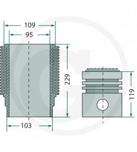 Zuiger en cilinderset, zuiger 95 mm