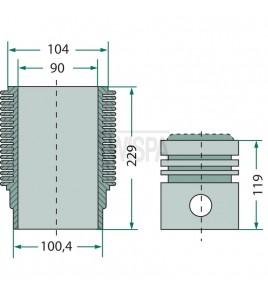 Zuiger en cilinderset 90 mm, oud model  AP 17 , AP 16